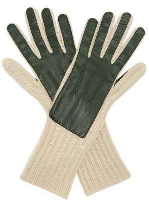 Burberry Leather Panelled Cashmere Gloves - Mens - Green
