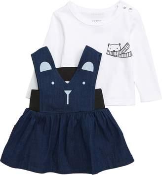 SOOKIbaby Bear Graphic T-Shirt & Pinafore Dress Set