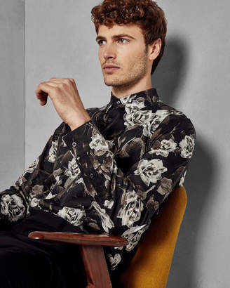 Ted Baker CHMAIZE Leaf print classic fit cotton shirt
