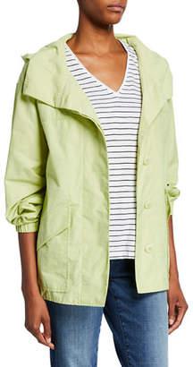 Eileen Fisher Organic Cotton/Nylon Button-Front Hooded Shirttail-Hem Jacket