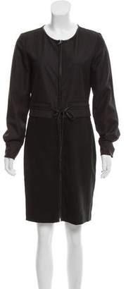 T Tahari Vegan Leather-Trimmed Knee-Length Dress