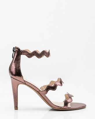 Le Château Metallic Snake Embossed Triple Strap Sandal