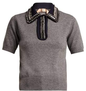 No.21 No. 21 - Crystal Embellished Polo Sweater - Womens - Grey