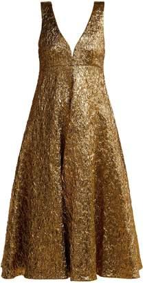 Rochas Metallic-bouclé foil-effect midi dress