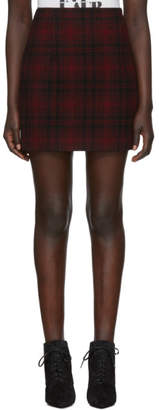 DSQUARED2 Red Wool Check Miniskirt