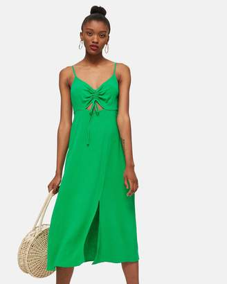 Topshop Ruched Front Molly Midi Slip Dress