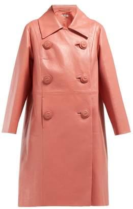 Miu Miu Double Breasted Leather Coat - Womens - Dark Pink