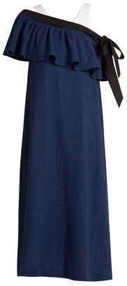 Isa Arfen Mali Baby Off The Shoulder Linen Dress - Womens - Navy Multi