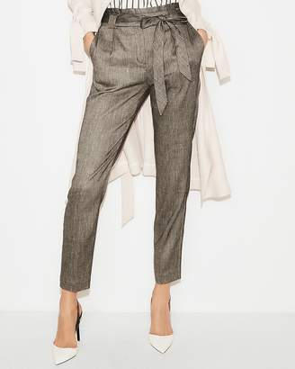 Express High Waisted Linen-Blend Sash Waist Ankle Pant