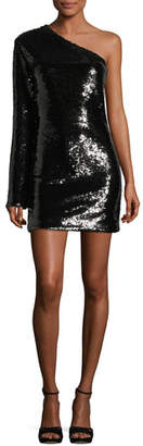 RtA Edie One-Shoulder Sequined Cocktail Dress