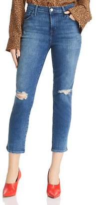 J Brand Ruby High Rise Crop Stovepipe Jeans in Catch Destruct