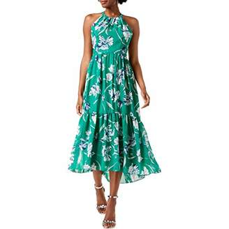 Jessica Howard Women's Sleeveless Shirred Halter Neck Dress with Flounce Hem