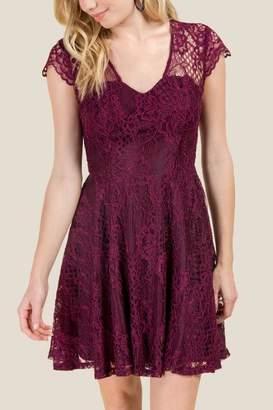 Aria Open Back Skater Dress - Purple