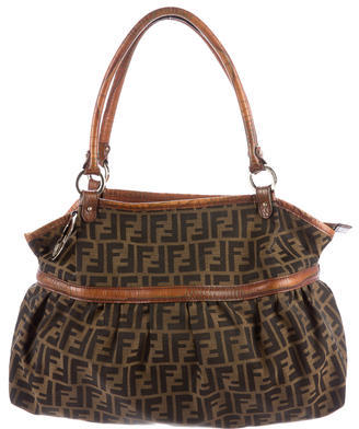 FendiFendi Leather-Trimmed Zucca Hobo