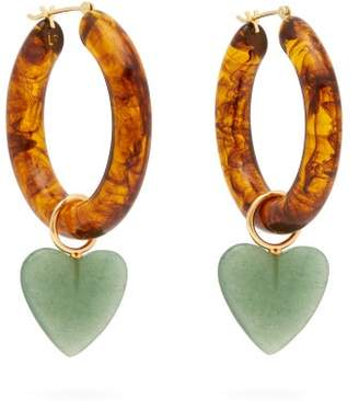 Lizzie Fortunato La Playa Resin & Quartz Hoop Earrings - Womens - Brown