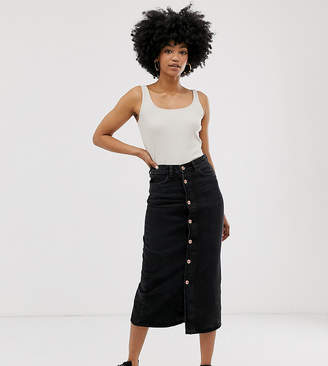 Monki midi denim pencil skirt in black