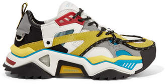 Calvin Klein Rubber And Ripstop-trimmed Leather, Suede, Neoprene And Mesh Sneakers - White