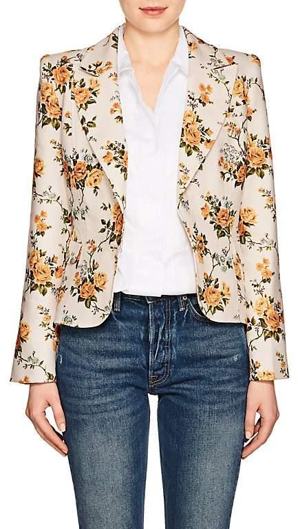 Women's Floral Linen Canvas Single-Button Blazer