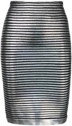 Balmain striped hologramme pencil skirt