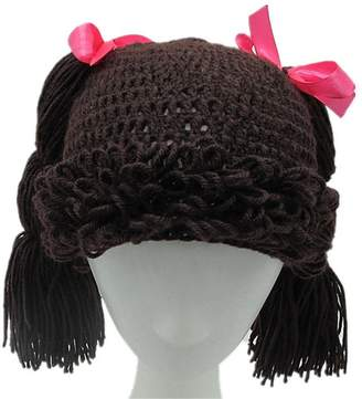 BIBITIME Knitted Pigtail Wig Beanie Handmade Women Girl's Braid Hat Bowknot Cap