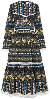 Erdem Georgie Lace-trimmed Floral-print Silk-crepe Midi Dress - Black