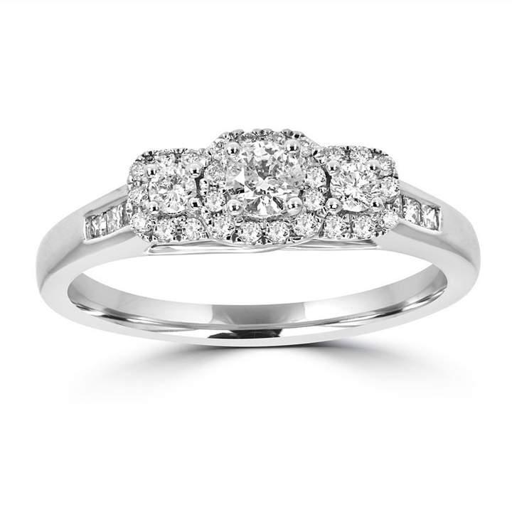 MODERN BRIDE Love Lives Forever Womens 1/2 CT. T.W. Multi-Shape White Diamond 14K Gold 3-Stone Ring