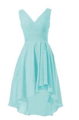 Tiffany & Co. DaisyFormals® Short High-Low Formal Dress V-Neck Chiffon Bridesmaid Dress(BM2422)- Cherry