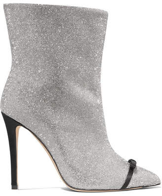 Marco De Vincenzo Pvc-trimmed Crystal-embellished Leather Ankle Boots - Silver