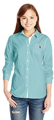 U.S. Polo Assn. Women's Long Sleeve Stripe Poplin Shirt