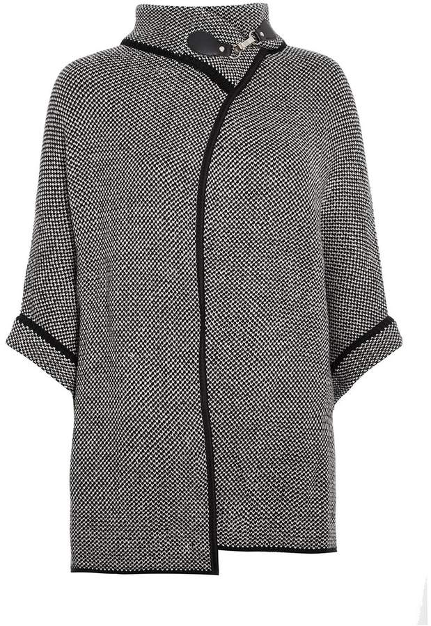 Buy Grey And Black Knit Buckle Batwing Cape!