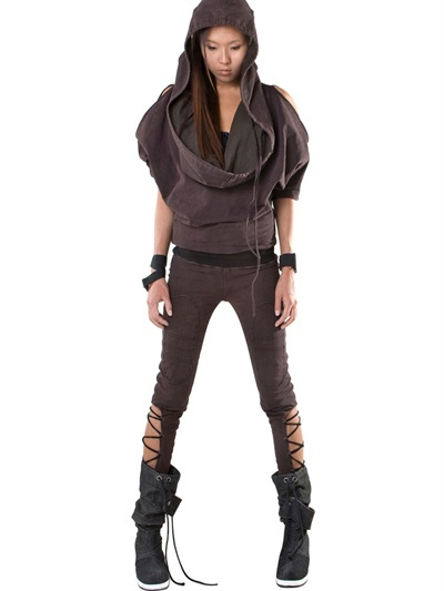 Rusty Hooded Cotton Fleece Jumpsuit
