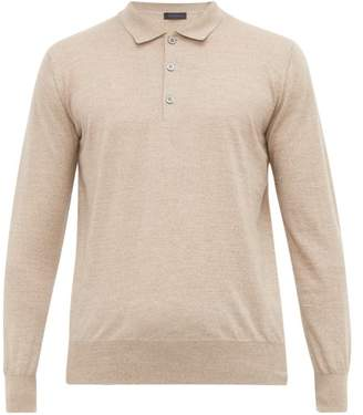 BEIGE Thom Sweeney - Long Sleeve Merino Wool Polo Shirt - Mens