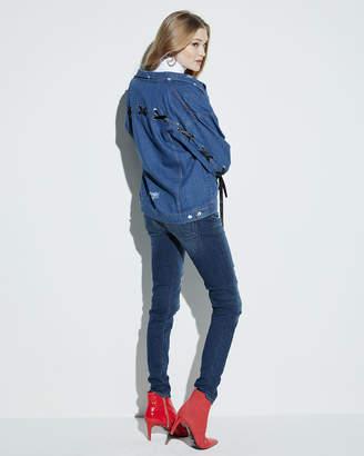 Few Moda Denim Lace-Up-Sleeve Jacket