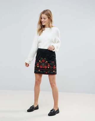 New Look Embroidered Faux Suede Mini Skirt