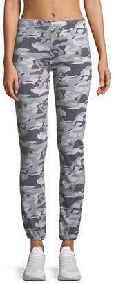 Monrow Camo-Print Full-Length Sweatpants