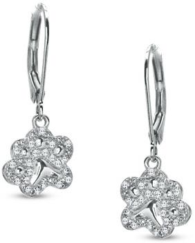 ASPCA® Tender Voices® 1/7 CT. T.W. Diamond Paw Drop Earrings in Sterling Silver