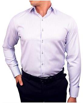 Nigel Lincoln Stripe Mouline Slim Fit Shirt With Cuff Trim
