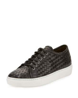 Sesto Meucci Nace Woven Lace-Up Sneaker, Black $300 thestylecure.com