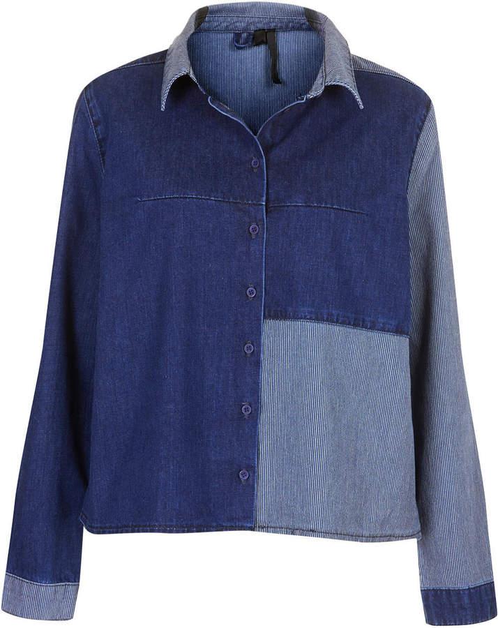 Boutique Patchwork denim shirt