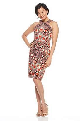 Maggy London Women's Global Puzzle Linen Sleeveless Novelty Sheath