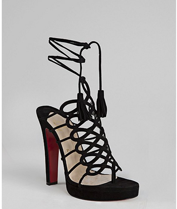 Christian Louboutin black suede 'Salsbourg 120' ankle wrap sandals