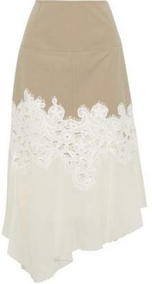 Derek Lam Paneled Twill Guipure Lace And Cotton-Gauze Midi Skirt