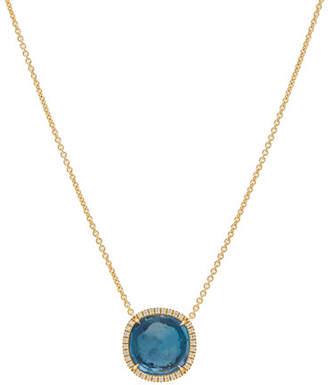 Marco Bicego Jaipur 18k Blue Topaz & Diamond Pendant Necklace
