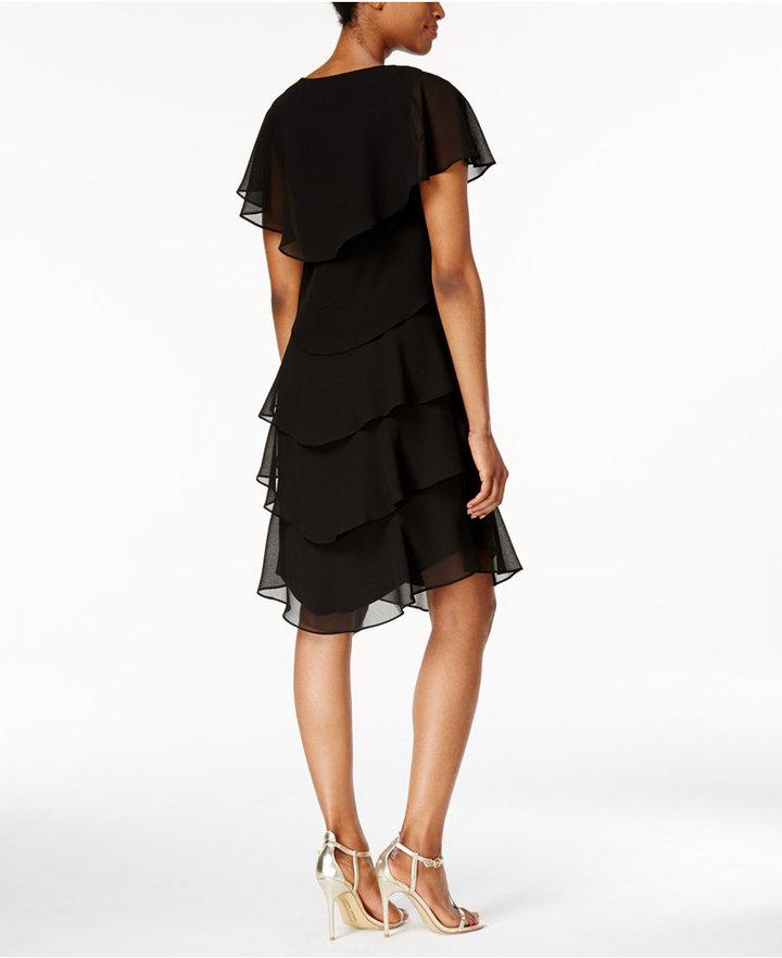 SL Fashions Tiered Rhinestone Capelet Dress 3