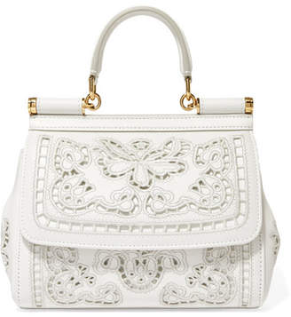 c12fb436b057 Dolce   Gabbana Sicily Small Cutout Embroidered Leather Tote - White