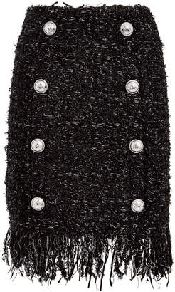 Balmain Fringed 8 Button Tweed Mini Skirt