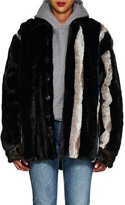 Y/Project Women's Striped Faux-Fur Jacket - Brown