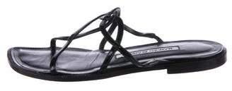 Manolo Blahnik Patent Slide Sandals