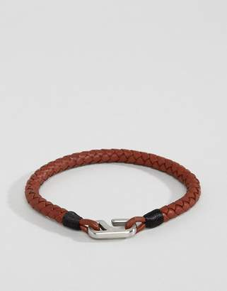Tommy Hilfiger braided leather hook bracelet in brown