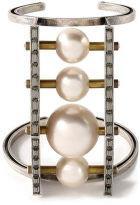 Lanvin Burnished Silver-Tone Faux Pearl And Crystal Cuff